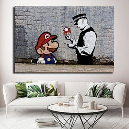 picture banksy NZ - Banksy Super Mario Wallpaper Wall Art Canvas Posters Prints Painting Wall Pictures For Office Living Room Home Decor Artwork