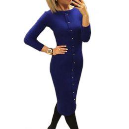$enCountryForm.capitalKeyWord UK - Winter Autumn Dress Warm Women Knitted Dress Mid-calf Package Hip Sheath Bodycon Dress Elegant Office Pin Up Lx062 designer clothes