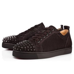 design genuine leather NZ - Designs Shoes Spike junior calf Low Cut Mix 20 Red Bottom Sneaker Luxury Party Wedding Shoes Genuine Leather Spikes Lace-up Casual Shoes j02