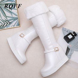 shoes for plus sized women Australia - 2019 New Autumn Winter Knee High Boots Women Plus Size 33-43 Snow Boot Platform Height Increasing Zip Warm Woman Shoes for Pink