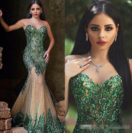 Emerald Prom Dress Straps Australia - Arabic Style Emerald Green Mermaid Evening Dresses Sexy Sheer Crew Neck Hand Sequins Elegant Said Mhamad Long Prom Gowns Party Wear