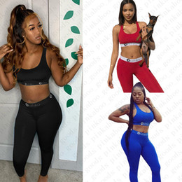 Wholesale breast black bra resale online - Women Bra Tracksuit Sleeveless Bras Vest Pants Leggings Piece Set Beachwear Outfit Push Up Crop Top Sports Suit Sportswear D52104