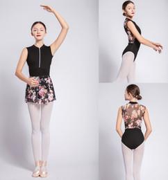 Großhandel Gymnastikanzug Erwachsene 2019 Neue Design Reißverschluss Net Dance Kostüm Hohe Qualität Schwarz Ballett Tragen Frauen Ballettanzug