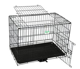 $enCountryForm.capitalKeyWord Australia - 2 Doors Wire Folding Pet Crate Dog Cat Cage Suitcase Kennel Playpen With Tray (46*31*36.5 CM)(Factory Direct Selling, Sample Selling)