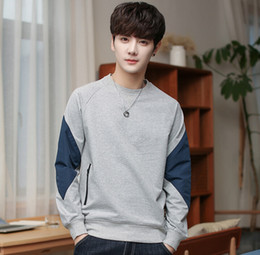 Discount grey sweater hoodie men - Hoodies spring and autumn men's long-sleeved sweater round neck wild loose bottoming shirt clothes factory wholesal