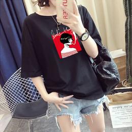 $enCountryForm.capitalKeyWord Australia - Women Summer T-shirts Short Sleeve Smoking Girl Print T shirts for Women Cute Tees Tops White Black