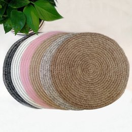 Discount hotel round table - PVC Western Table Mat Round Solid Color Wearable Hotel Washable Coasters PVC Round Western Food Table Mats