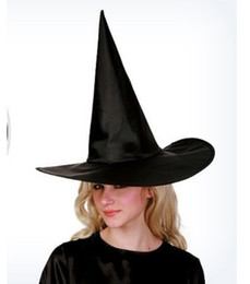 Fancy hats boys online shopping - Halloween black witch hat for adult kids costumes party cosplay cap sexy fancy women magic hats boys girls Oxford material Pointed hat