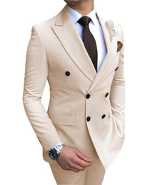 beige suits Australia - Wholesale-New Beige Men's Suit 2 Pieces Double-breasted Notch Lapel Flat Slim Fit Casual Tuxedos For Wedding(Blazer+Pants)