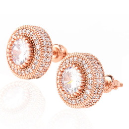 18K Gold Iced Out Shining Rose Gold Color Round Stud Earrings For Women Men Fashion Cubic Zirconia Earrings Luxury designer on Sale