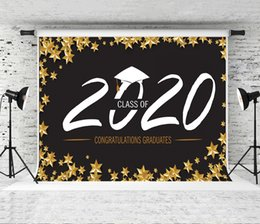 background photo props Canada - Class of 2020 Graduation Backdrop Congratulations Graduation Photography Background Yellow Stars Decor Black Shoot Backdrops for Photo Prop