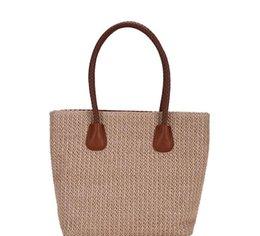 Straws Free Shipping UK - Summer woven hand bag 2019 new fashion straw Korean casual handbag travel beach shoulder bag free shipping#001