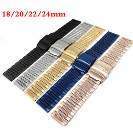 22mm stainless bracelet Canada - Luxury Blue Rose Gold Yellow Gold 18mm 20mm 22mm 24mm Solid Link Polished Watch Band Stainless Steel Strap Wristband Bangle Replacement