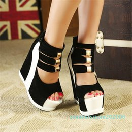novelty shoe covers NZ - Sarairis 2020 New Design Wedge High Heels Summer Sandals Women Shoes Cover Heel Zip Up Metal Decoration Shoes Woman Sandals s06