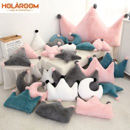 heart shaped chairs NZ - Stuffed Toy Star Moon Shaped Pillow Love Heart Crown Toy Plush Filled Super Soft Sofa Chair Doll Cushion Child Favorite Doll