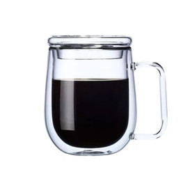 double glasses layers Australia - Simple Style Office Mug Double Layer High Quality Coffee Cup with Lid Transparent Drinkware Heat-resistant Glass Glass Beer Drinking Mugs