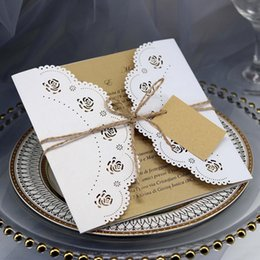 White Rose Card Wedding Australia - 10PCS Wedding Blessing Greeting Card Kraft Paper Rope White Rose Valentines Day Gift Postcard With Envelope Stickers