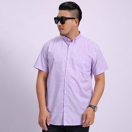 men wearing satin shirts Australia - Large Size Plus Fat plus Size Shirt Male Short Sleeve Extra Large Size Fat Fat Man Leisure Business Men's Wear Spuer Solid