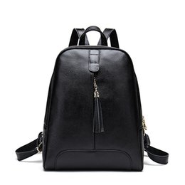 Korean new product online shopping - Decent2019 New Chunji Xia Product Genuine Leather Both Shoulders Woman Package Tassels Korean The Tide Layer Cowhide Backpack Fashion