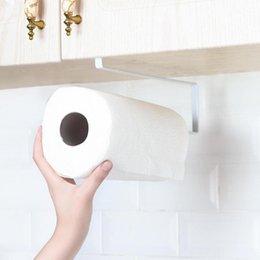 Home Storage Shelf Iron+wood Toilet Paper Holder Adhesive Paper Towel Holder Under Cabinet For Kitchen Bathroom #4a16 Bathroom Hardware