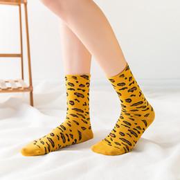 $enCountryForm.capitalKeyWord NZ - Fashion Socks Women Leopard Autumn Winter Breathable Cotton Mid Calf Womens Sports Hiking Running Socks