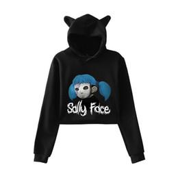 Lucky goLd cat online shopping - Lucky Friday Sally Face fashion trend sala Cat Crop Top Women summer Hoodies Sweatshirt Sexy hot Kpop Harajuku plus Size