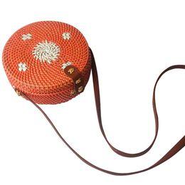 Drawstring C Australia - Women'S Cylinder Woven Bag Leather Button Opening Design Messenger Bag Vintage Rattan Grass Beach Multicolor Weaving Ms. C