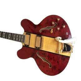 double guitars Australia - Manufacturers custom high quality 2019 hot sale double F hole hollow body jazz electric guitar, gold hardware accessories, top quality, XB-1