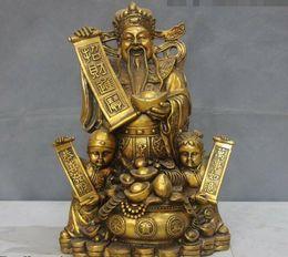 Ingrosso Cina FengShui Bronzo Rame Soldi ricchezza Ragazzo Drago Dio della ricchezza Statua del Buddha