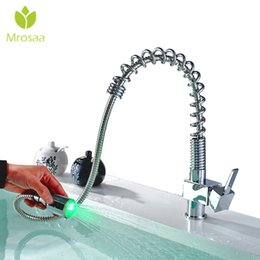 shower cold hot water mixer 2019 - Mrosaa Chrome Spring Pull Down Kitchen Faucet 360 Rotation Handheld Shower Kitchen Mixer Crane Hot and Cold Water Tap Le