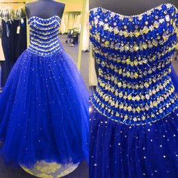 Strapless Sequin Red Dress Australia - Stunning Royal Blue Vestidos De Quinceanera dresses 2019 Real Photo Strapless Bling Crystal Beaded Sequins Ball Gown Prom Sweet 16 Dress
