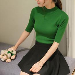 $enCountryForm.capitalKeyWord Australia - Poncho Time-limited Three Quarter Women Sweater 2019 New Spring Korean Sleeve Shirt Collar Solid Elastic Sweater Five Girl