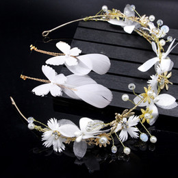 $enCountryForm.capitalKeyWord Australia - Romantic Bride Wedding Jewelry Sets Handmade Weaving Imitation Pearl Flower Headband White Long Feather Drop Earrings Fashion Alloy Jewelry