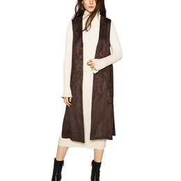 Discount long suede vest - Vintage 2016 Women Suede Pocket Long Vests Waistcoat V-Neck Sleeveless Jacket Female Autumn Brand Quality Brown Black Lo