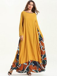 long sleeve maxi dresses Australia - Autumn Plus Size Middle East Muslim dress Robe Women's Print Long Dress Long sleeve National style Loose maxi Dress free size