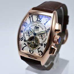 watches luxury skeleton man Australia - Geneva luxury leather band tourbillon mechanical men watch dropshipping day date skeleton automatic men watches gifts