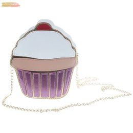 cupcake easter UK - New Cute Zipper Cartoon Women Ice Cupcake Mini Bags Pu Leather Small Clutch Crossbody Girl Shoulder Messenger Bag Cake