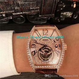 $enCountryForm.capitalKeyWord Australia - Tonneau Designer Watches Rose Gold Full Diamond Dial Tourbillon Automatic Mens Watch Arabic Numerals Sapphire Crystal Swiss Wristwatch