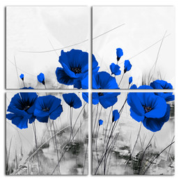 oil painting blue flowers panels Australia - Amosi Art 4 Panels Canvas Print Wall Art Blue Poppy Painting Stretch Framed Flower Picture Black and White Artwork for Living Room Decor