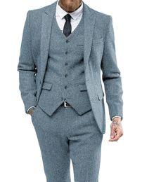 wedding burgundy gold suits black men 2019 - Men Suit Herringbon Casual Formal Three Piece Business Groomsmen Grey White Burgundy Lapel Tuxedos for Wedding Blazer+Pa