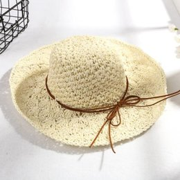 Hollow Fiber Australia - 2019 new hot Korean version of the manual crochet straw hat ladies bow hollow visor hat foldable sunscreen big beach hat female