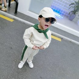 Tracksuits Boy Child NZ - Boys Tracksuit Spring Autumn Children Clothing Sets Cotton Green Hooded Tops+Pants 2 Pcs Cute Boy Solid Clothes Set Costumes