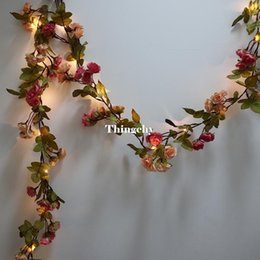 dry flowers for wedding UK - 1 .7m Little Rose Flower Battery Copper Wire Led Fairy String Lights For Christmas Lit Garland Wedding Decoration Party Event