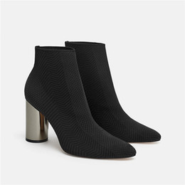$enCountryForm.capitalKeyWord Australia - Stretch Knitting High Heel Sock Boots Women Brand Design Deep Green Boots Sexy Pointed Toe Ankle Boots for Women SWE0394