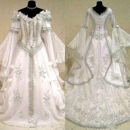 Wholesale medieval renaissance gown dress costume online – ideas Medieval Wedding Dresses Witch Celtic Tudor Renaissance Costume Victorian Gothic Holloween Lace up Corset Wedding Gown Plus Size