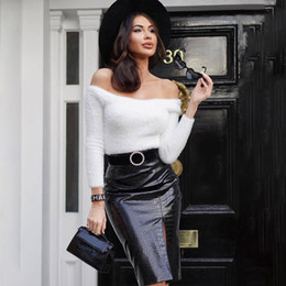 spring office fashion NZ - New Office Lady Formal Lace Patchwork Bodycon Skirts High Waist Zipper PU Leather Black Sexy Spring Fashion Pencil Skirts