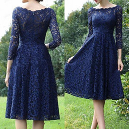 $enCountryForm.capitalKeyWord Australia - Fall 2019 New Design Mother of The Bride Dresses with Sleeve Scalloped Boat Neckline A Line Knee Length Blue Lace Wedding Guest Dress