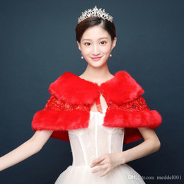 ToasT cloThes online shopping - Bride married red rose sequins warm wool shawl wedding dress toast clothing cloak to keep warm