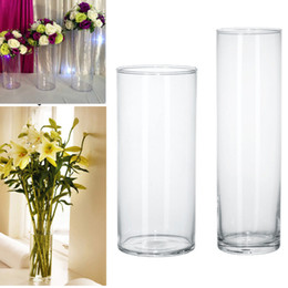 cylinder flower vase UK - Plastic Clear Round Cylinder Vase Bottle Hanging Vase For Plant Flower Wedding Party Bedroom Living Room Office Home Decoration Y19062803