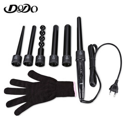 China Dodo New 6 In 1 Ceramic Pro Curling Iron Wand Hair Curler Set Pro Interchangeable Barrel Tourmaline Curling Iron MachineMX190820 supplier curling wand sets suppliers